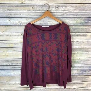 Peruvian Connection Maroon Printed Long Sleeve Tee
